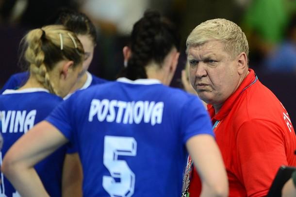 Russia's coach Evgeny Trefilov gives ins